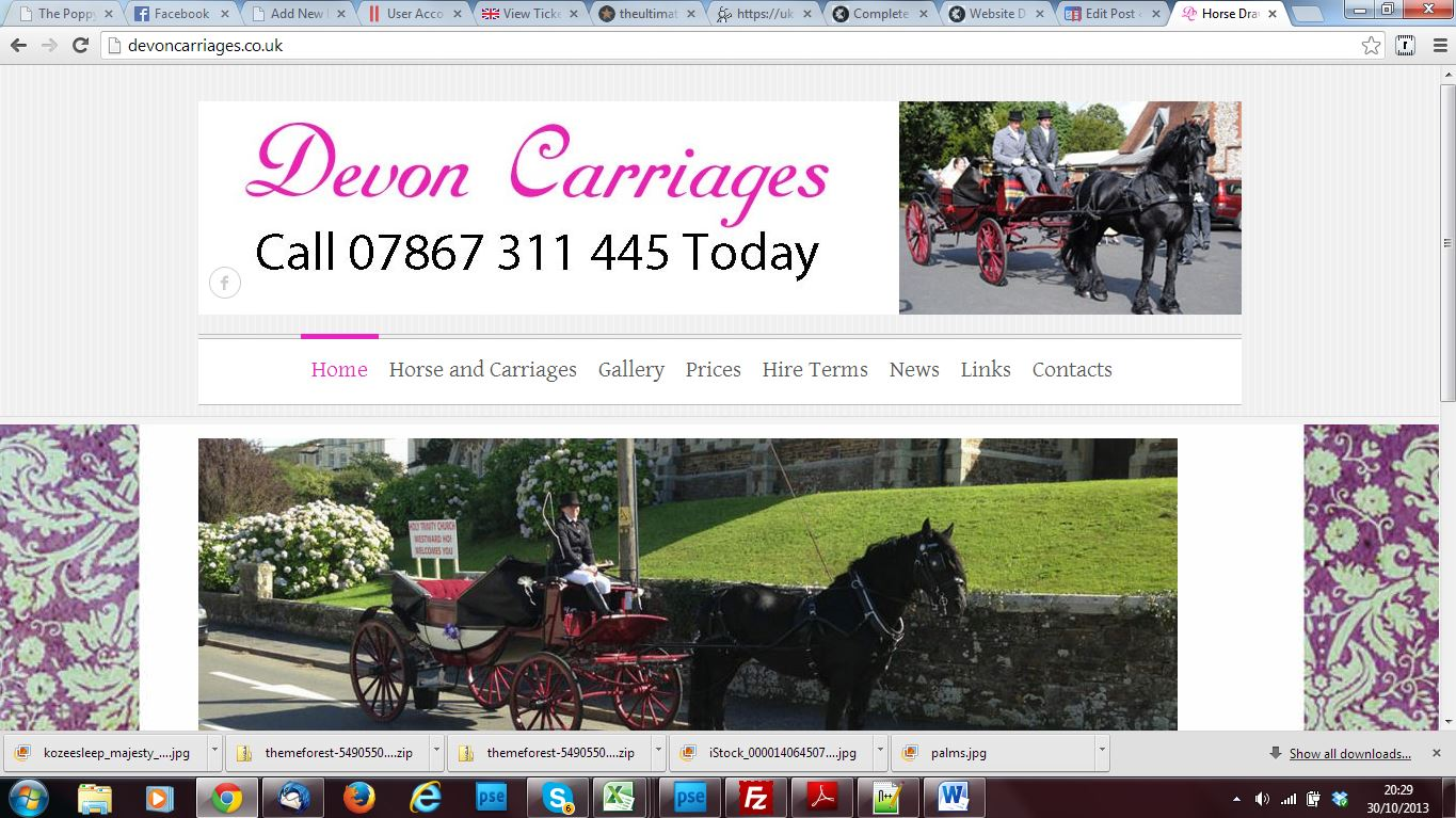 Devon carriages - new website and search engine optimisation by Complete Marketing Solutions, Bideford, North Devon