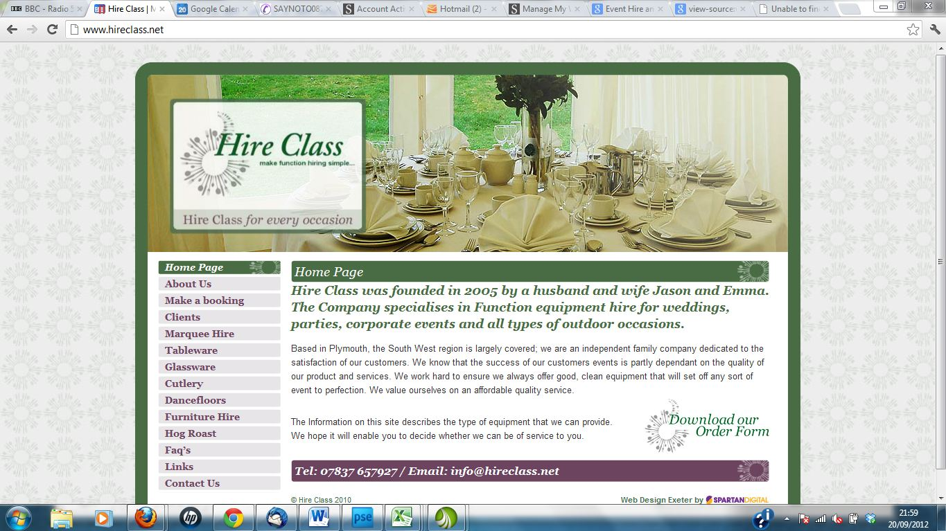 hire class old site - new website and search engine optimisation by Complete Marketing Solutions, Bideford, North Devon