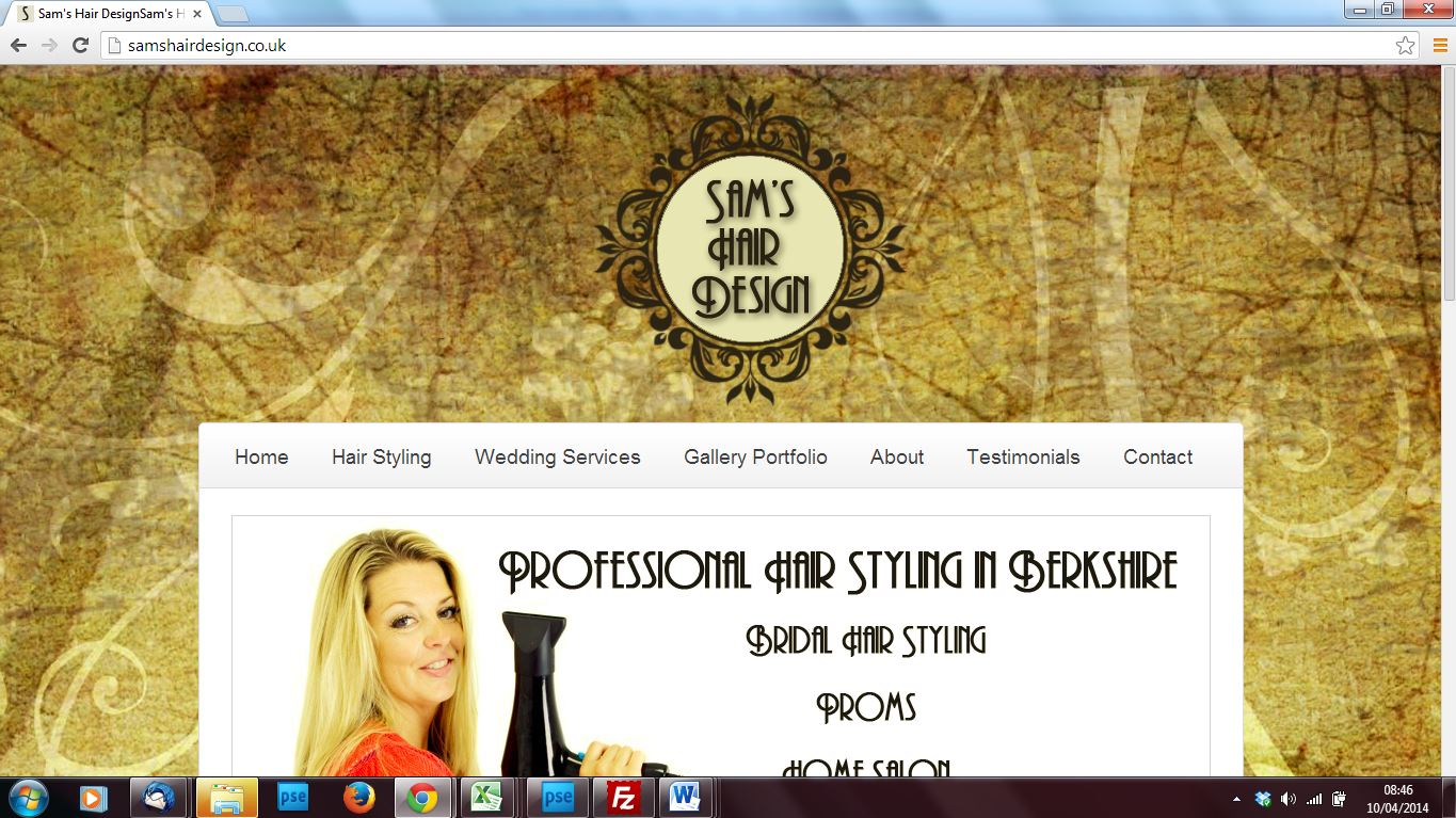 sams hair design website design