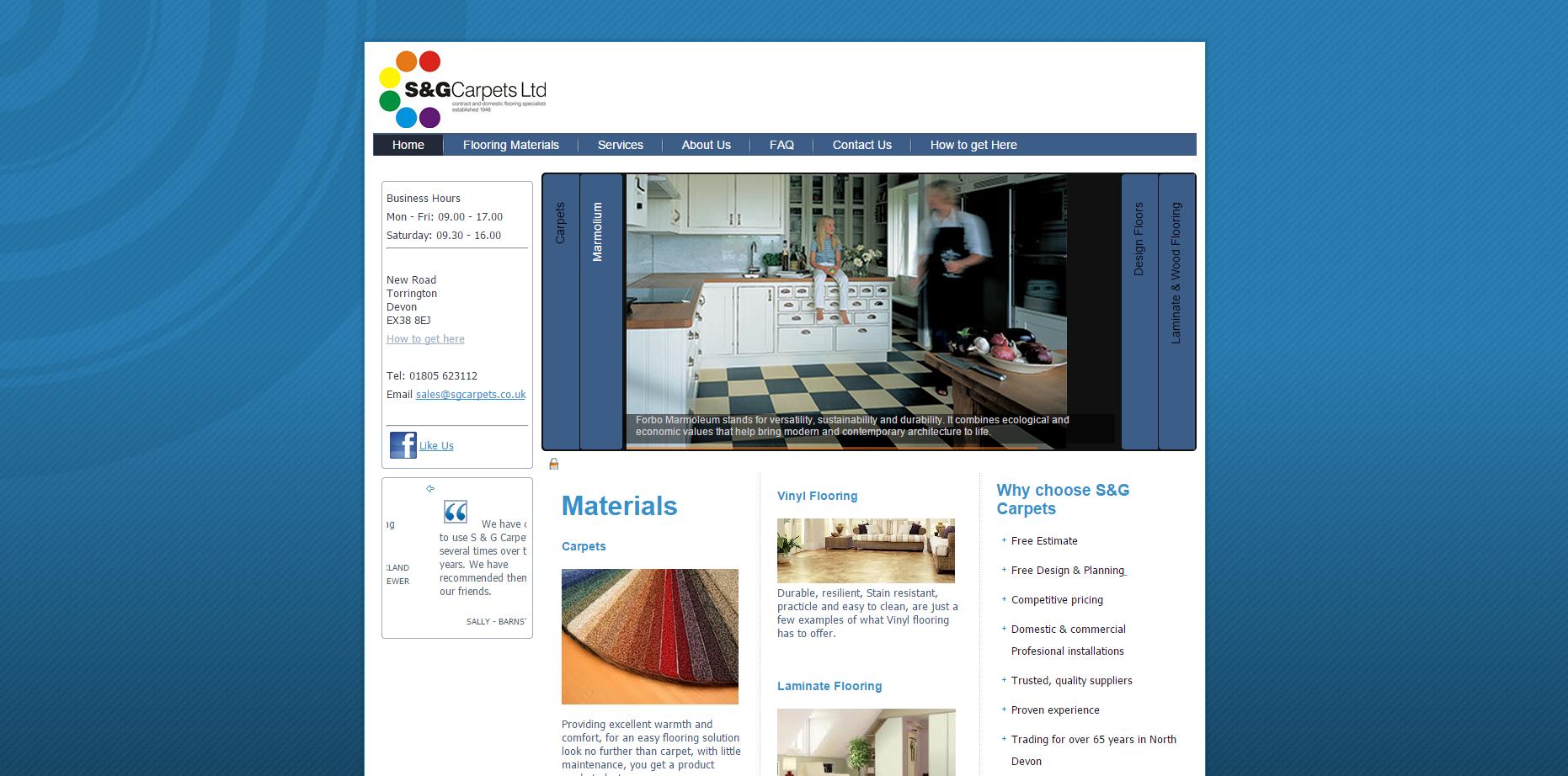 s&g carpets torrington old website screen shot
