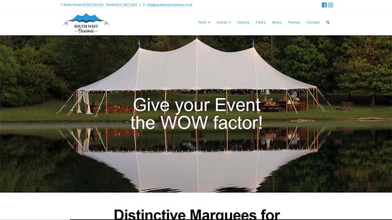 Marquee Company Website Design North Devon